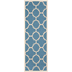 Safavieh Courtyard Alex Blue / Beige 2 ft. 3 inch x 8 ft. Indoor/Outdoor Runner