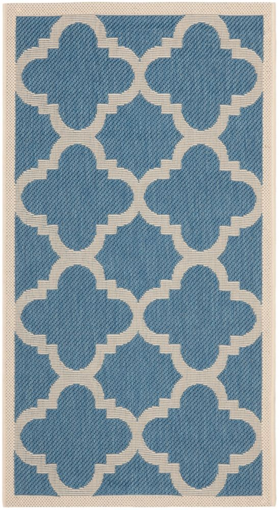 Safavieh Courtyard Blue 2 ft. 7-inch x 5 ft. Indoor/Outdoor Rectangular Area Rug - CY6243-243-3