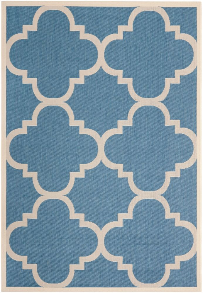 Safavieh Courtyard Alex Blue / Beige 4 ft. x 5 ft. 7 inch Indoor/Outdoor Area Rug