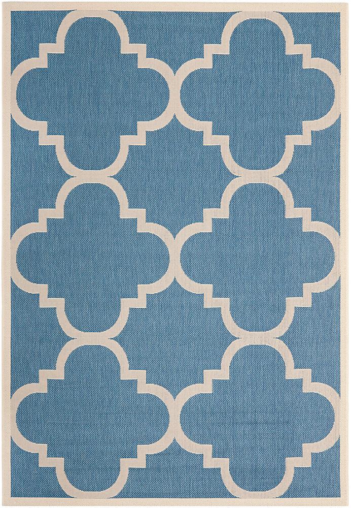 Tapis de passage d'intérieur/extérieur, 5 pi 3 po x 7 pi 7 po, style transitionnel, rectangulaire, bleu Courtyard