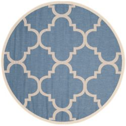 Safavieh Courtyard Alex Blue / Beige 6 ft. 7 inch x 6 ft. 7 inch Indoor/Outdoor Round Area Rug