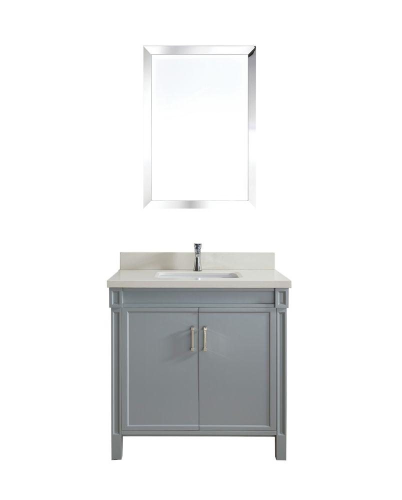 Art Bathe Serrano 36-inch W 1-Drawer 2-Door Freestanding Vanity in Grey With Quartz Top in Off-White