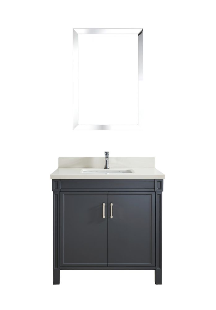 Art Bathe Serrano 36-inch W 1-Drawer 2-Door Freestanding Vanity in Grey With Quartz Top in Off-White
