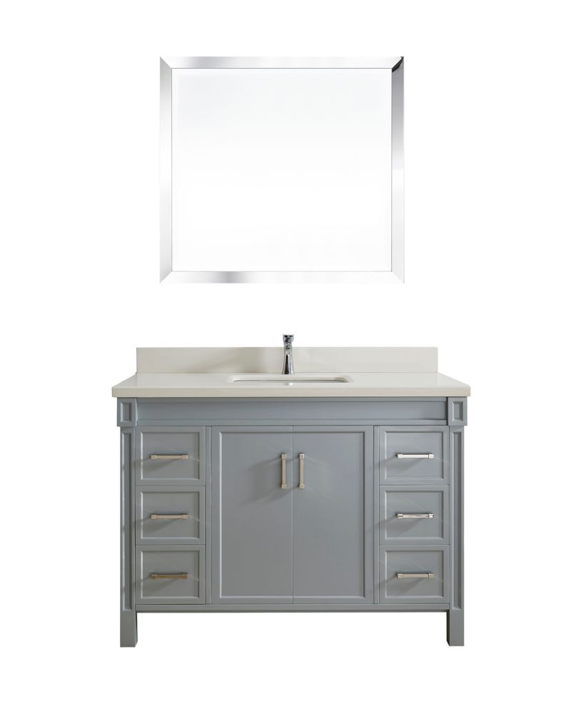Art Bathe Serrano 48-inch W 6-Drawer 2-Door Freestanding Vanity in Grey With Quartz Top in Off-White
