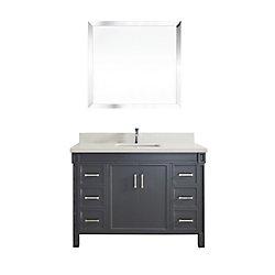 Art Bathe Serrano 48-inch W 6-Drawer 2-Door Freestanding Vanity in Grey With Quartz Top in Off-White