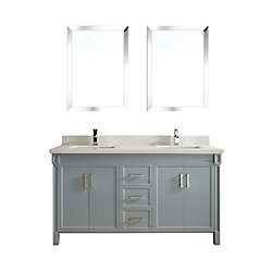 Art Bathe Serrano 63-inch W 3-Drawer 4-Door Vanity in Grey With Quartz Top in Off-White, Double Basins