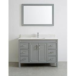 Art Bathe Corniche 48-inch W 6-Drawer 2-Door Vanity in Grey With Engineered Stone Top in Off-White