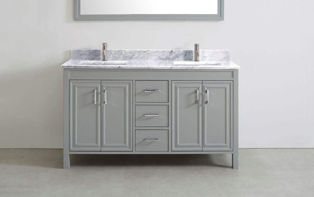 Art Bathe Corniche 60-inch W 3-Drawer 4-Door Vanity in Grey With Engineered Stone Top in Off-White, 2 Basins