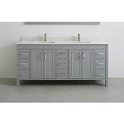 Art Bathe Corniche 75-inch W 9-Drawer 4-Door Vanity in Grey With Engineered Stone Top in Off-White, 2 Basins
