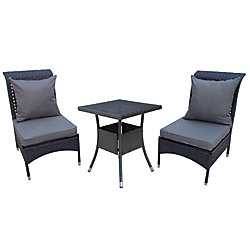 Patio Flare Windsor Conversation Set in Matte Black Wicker with Dark Grey Cushions