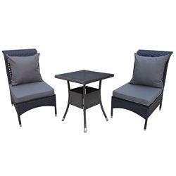 Patio Flare Windsor Conversation Set in Matte Black Wicker with Dark Grey Cushions