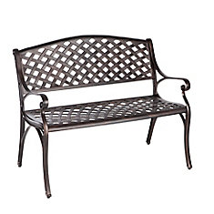 Die-Cast Aluminum Bench in Antique Bronze Finish