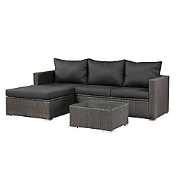 Patio Flare Emmett Deep Seating Patio Sofa Sectional Set with Storage in Dark Grey with Grey Cushions
