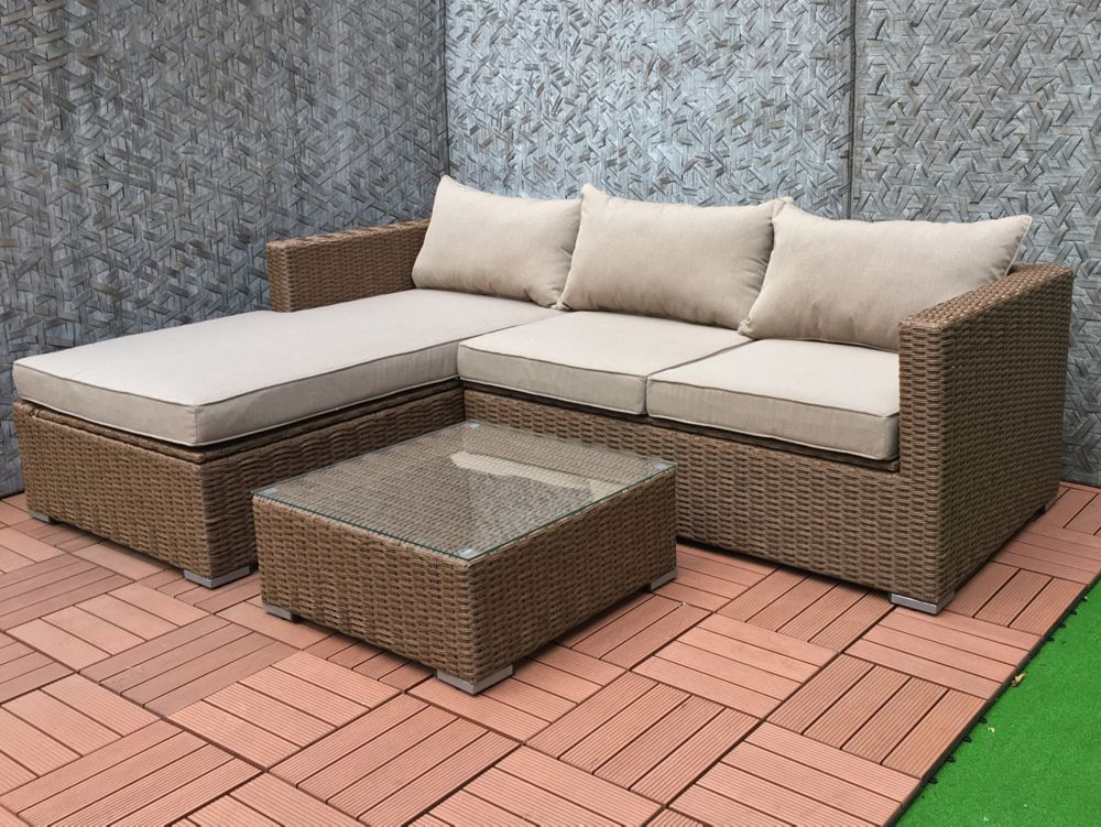 Patio Flare Emmett Deep Seating Patio Sofa Sectional Set with Storage in Brown with Tan Cushions