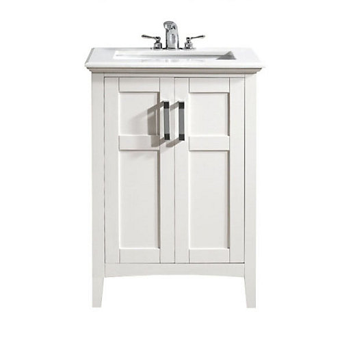 Baywind Collection 25-inch W 2-Door Freestanding Vanity in White With Engineered Stone Top in White