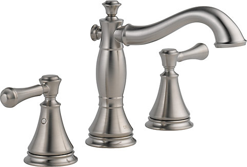 Delta Minispread 4 Inch 2 Handle Low Arc Bathroom Faucet In Stainless Steel With Lever Handles The Home Depot Canada