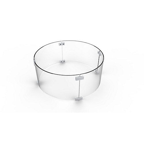 28-inch Round Glass Wind Guard for Fire Pit Tables