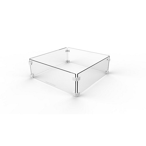 22-inch Square Glass Wind Guard for Fire Pit Tables