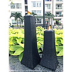 Towers Set of 2 Wicker Gel Burners in Black