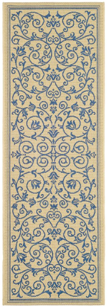 Safavieh Courtyard Marc Natural / Blue 2 ft. 3 inch x 10 ft. Indoor/Outdoor Runner
