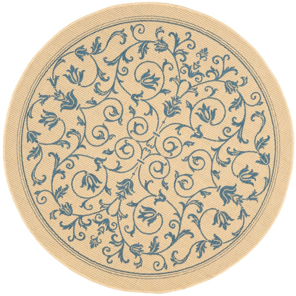 Courtyard Marc Natural / Blue 5 ft. 3 inch x 5 ft. 3 inch Indoor/Outdoor Round Area Rug