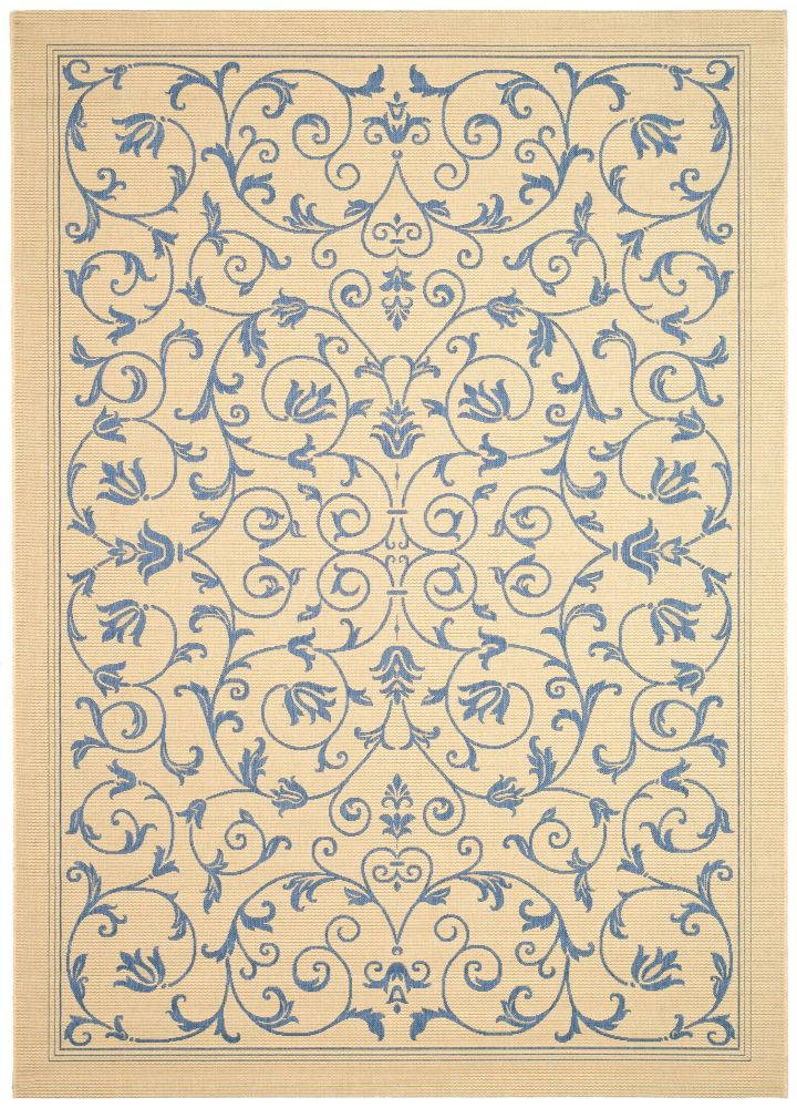 Courtyard Marc Natural / Blue 6 ft. 7 inch x 9 ft. 6 inch Indoor/Outdoor Area Rug