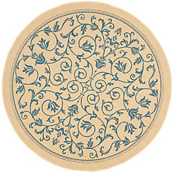Safavieh Courtyard Marc Natural / Blue 6 ft. 7 inch x 6 ft. 7 inch Indoor/Outdoor Round Area Rug