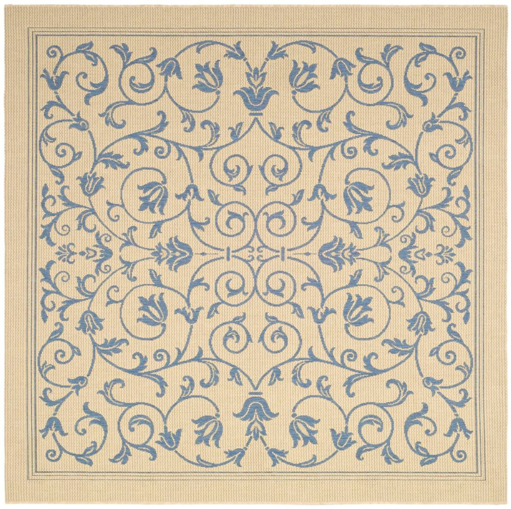 Courtyard Marc Natural / Blue 6 ft. 7 inch x 6 ft. 7 inch Indoor/Outdoor Square Area Rug