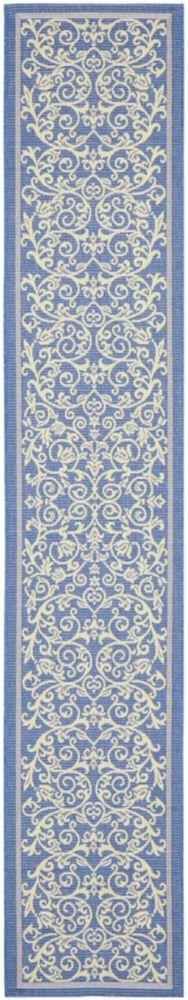 Tapis de passage d'intérieur/extérieur, 2 pi 3 po x 10 pi, style transitionnel, bleu Courtyard