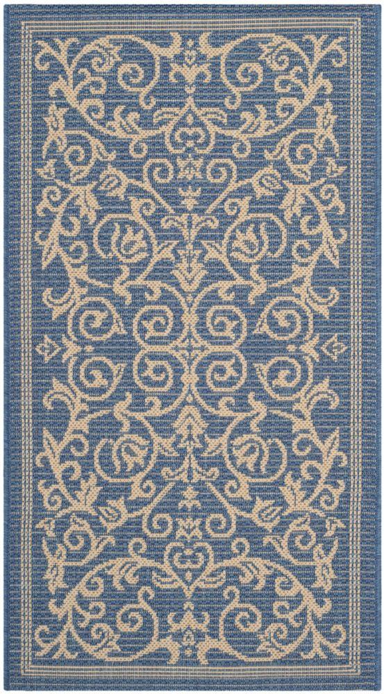Safavieh Courtyard Blue 2 ft. 7-inch x 5 ft. Indoor/Outdoor Rectangular Area Rug - CY2098-3103-3