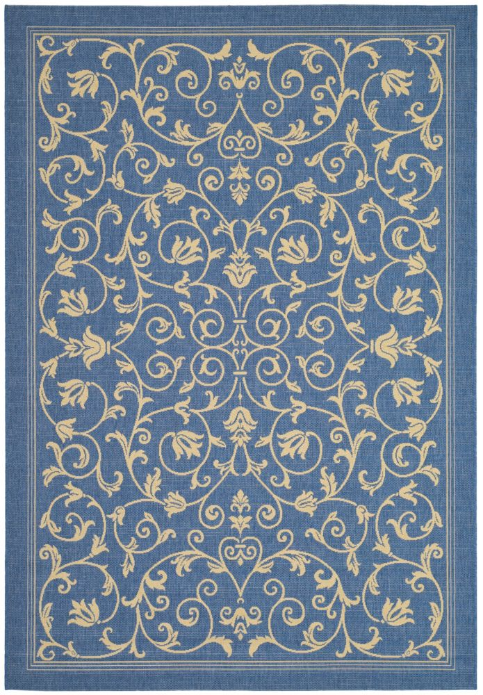 Safavieh Courtyard Marc Blue / Natural 6 ft. 7 inch x 9 ft. 6 inch Indoor/Outdoor Area Rug