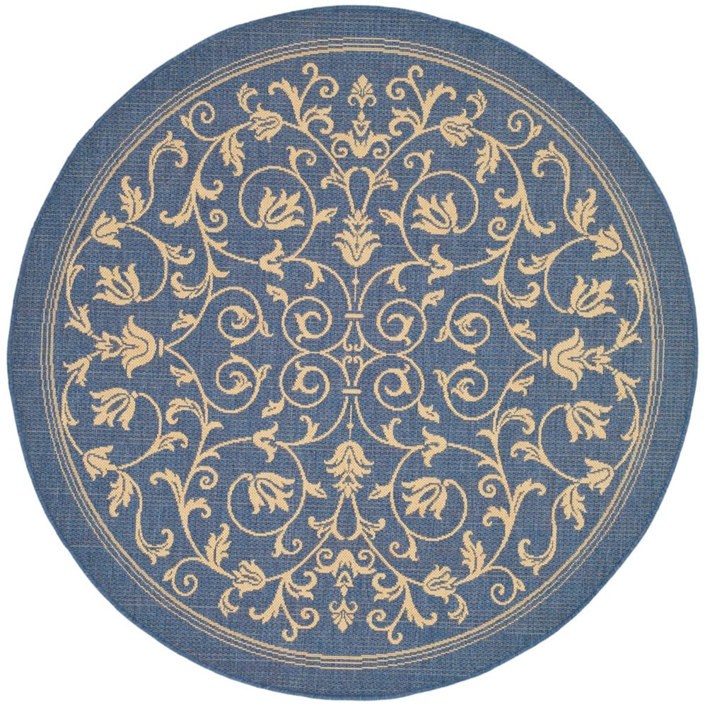 Safavieh Courtyard Marc Blue / Natural 6 ft. 7 inch x 6 ft. 7 inch Indoor/Outdoor Round Area Rug