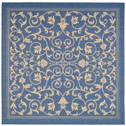 Safavieh Courtyard Marc Blue / Natural 6 ft. 7 inch x 6 ft. 7 inch Indoor/Outdoor Square Area Rug