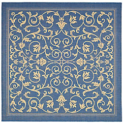 Safavieh Courtyard Marc Blue / Natural 7 ft. 10 inch x 7 ft. 10 inch Indoor/Outdoor Square Area Rug