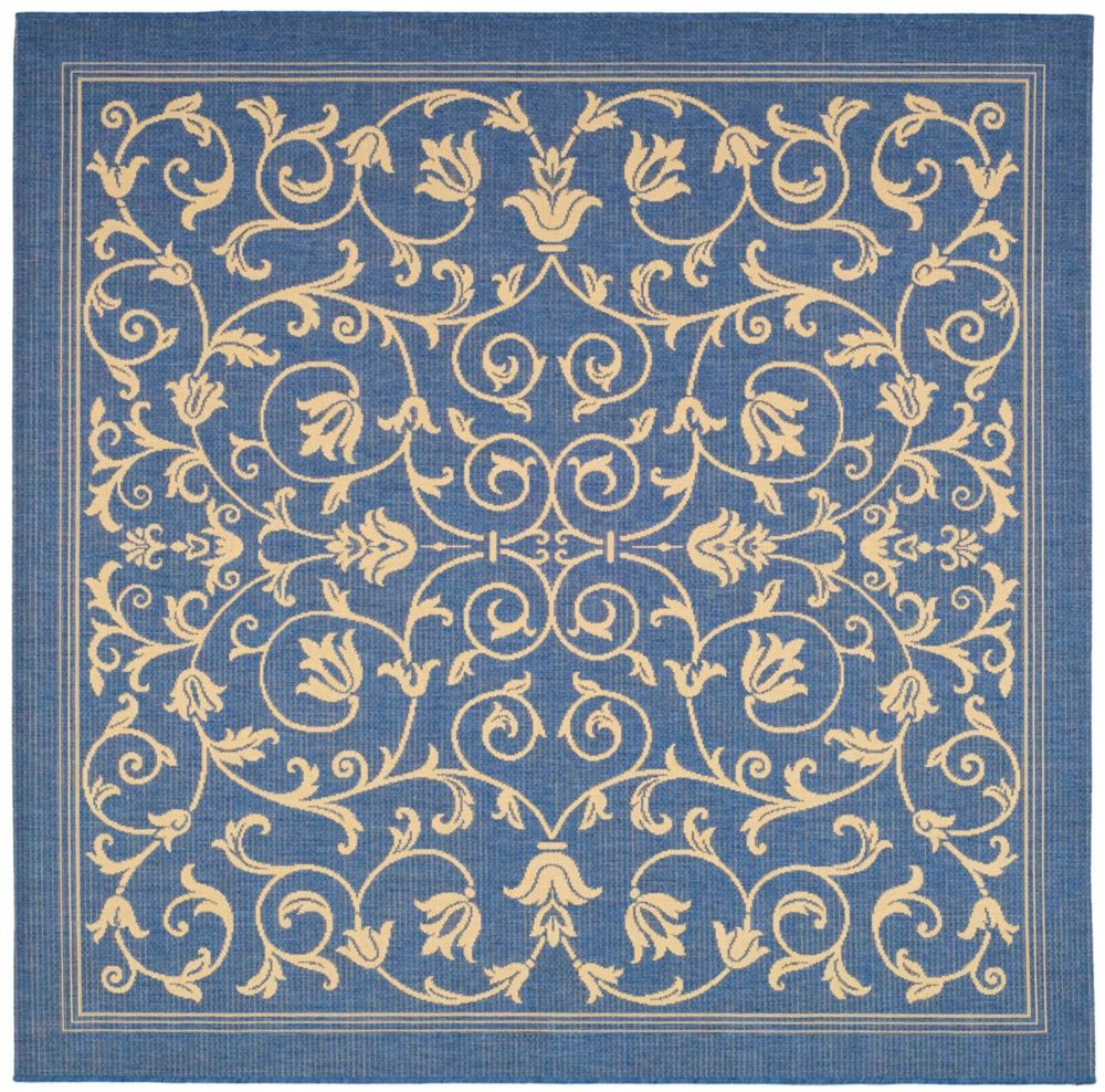 Courtyard Marc Blue / Natural 7 ft. 10 inch x 7 ft. 10 inch Indoor/Outdoor Square Area Rug