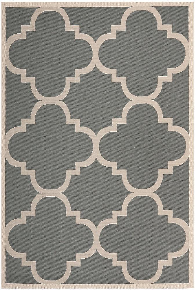 Tapis de passage d'intérieur/extérieur, 5 pi 3 po x 7 pi 7 po, style transitionnel, rectangulaire, gris Courtyard
