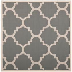 Safavieh Tapis de passage d'intérieur/extérieur, 5 pi 3 po x 5 pi 3 po, style transitionnel, carré, gris Courtyard
