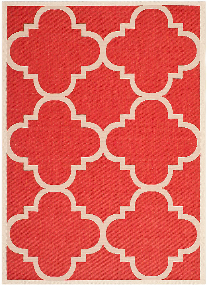 Tapis de passage d'intérieur/extérieur, 5 pi 3 po x 7 pi 7 po, style transitionnel, rectangulaire, rouge Courtyard