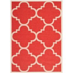 Safavieh Tapis de passage d'intérieur/extérieur, 5 pi 3 po x 7 pi 7 po, style transitionnel, rectangulaire, rouge Courtyard