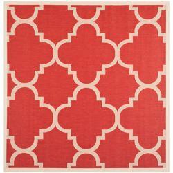 Safavieh Carpette d'intérieur/extérieur, 6 pi 7 po x 6 pi 7 po, style transitionnel, carrée, rouge Courtyard