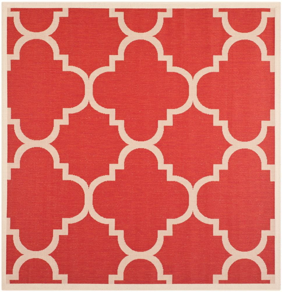 Safavieh Courtyard Alex Red 7 ft. 10 inch x 7 ft. 10 inch Indoor/Outdoor Square Area Rug
