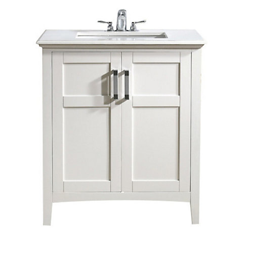 Baywind Collection 31-inch W 2-Door Freestanding Vanity in White With Engineered Stone Top in White