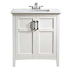 Home Decorators Collection Baywind Collection 31-inch W 2-Door Freestanding Vanity in White With Engineered Stone Top in White