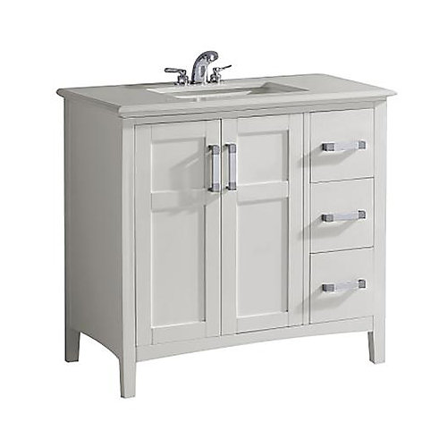 Baywind Collection 37-inch 3-Drawer 2-Door Vanity in White With Engineered Stone Top in White