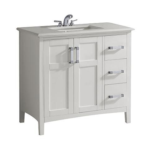 Home Decorators Collection Baywind Collection 37-inch 3-Drawer 2-Door Vanity in White With Engineered Stone Top in White