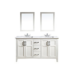 Baywind Collection 61-inch 3-Drawer 4-Door Double Vanity in White With Engineered Stone Top in White