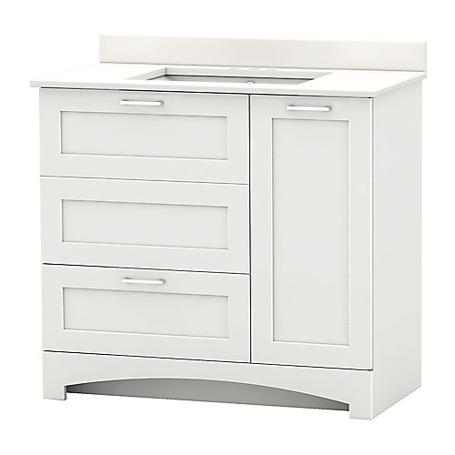 Casotto 37-inch W 1-Drawer 2-Door Freestanding Vanity in White With Engineered Stone Top in White