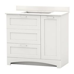 Home Decorators Collection Casotto 37-inch W 1-Drawer 2-Door Freestanding Vanity in White With Engineered Stone Top in White