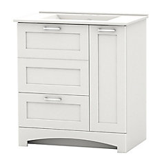 Casotto 29.75-inch W 1-Drawer 2-Door Freestanding Vanity in White With Ceramic Top in White