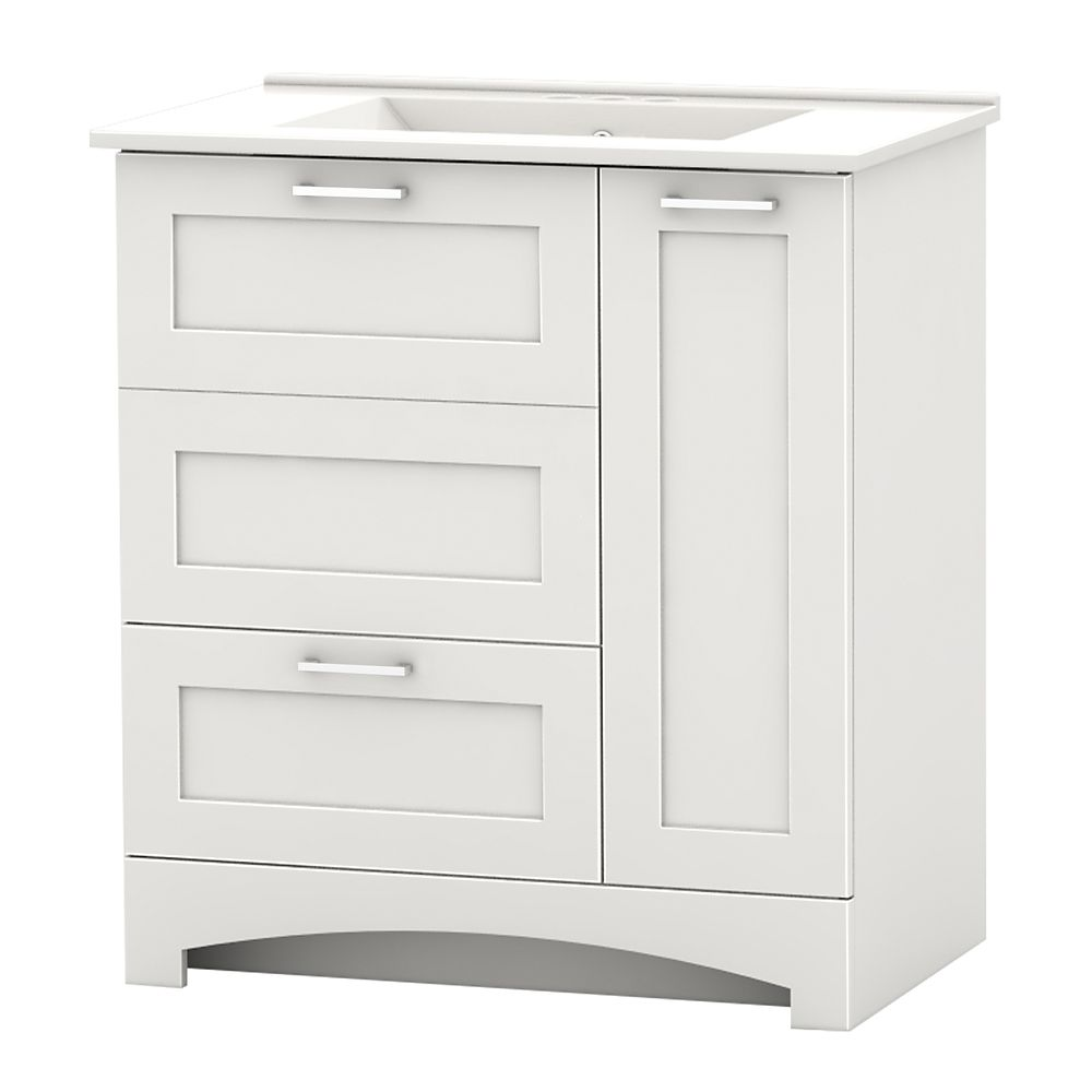 Home Decorators Collection Casotto 29.75-inch W 1-Drawer 2-Door Freestanding Vanity in White With Ceramic Top in White
